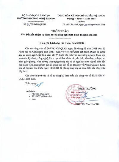Thông báo đề xuất nhiệm vụ khoa học và công nghệ tỉnh Bình Thuận năm 2019