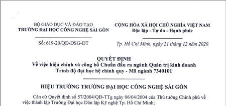 Quyết định hiệu chỉnh và công bố chuẩn đầu ra ngành Quản trị kinh doanh trình độ đại học của Trường Đại học Công nghệ Sài Gòn
