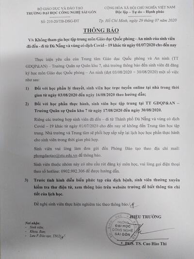 Về việc học quốc phòng của sinh viên đã đến-đi từ Đà Nẵng và vùng có dịch Covid khác từ 01/7/2020